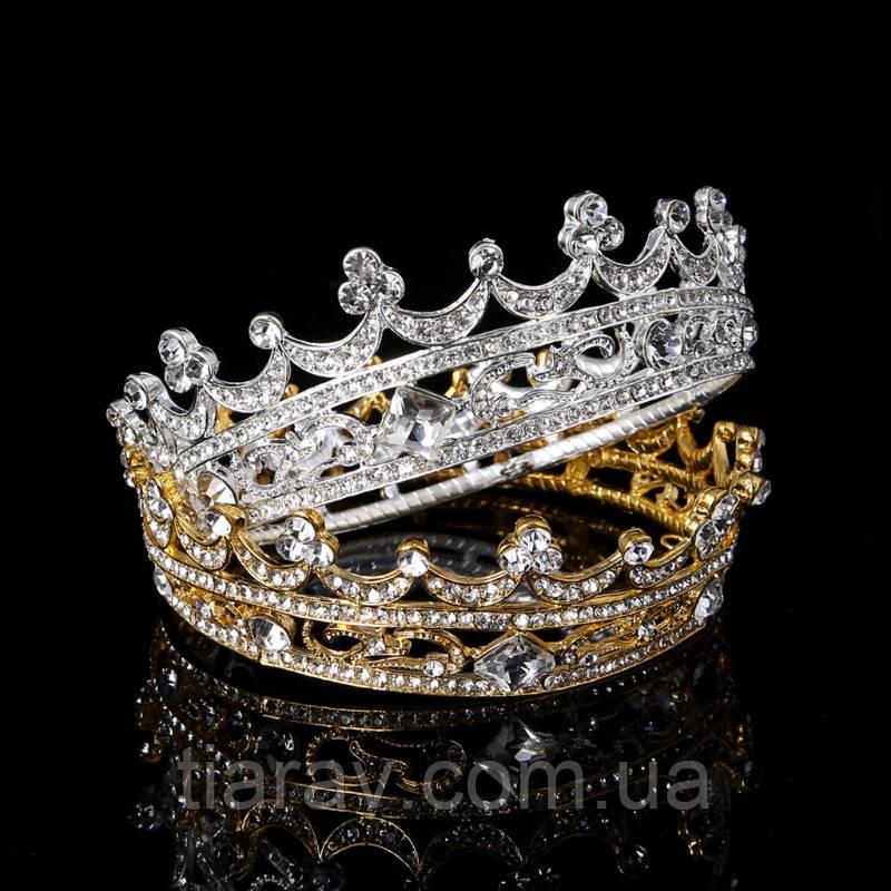 Корона кругла ТІНА, корона на голову в каменях, дитяча корона, Прикраси