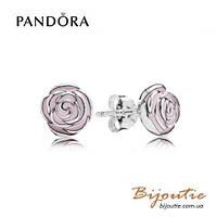 Серьги Pandora РОЗЫ #290554EN40 серебро 925 Пандора оригинал