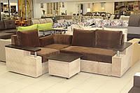 Угловой диван серии 15-1-6-7 с прикроватным пуфом