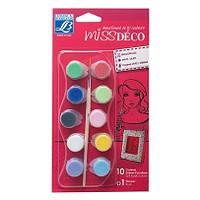 Набор матовых акриловых красок Miss Deco, 10x4 мл + кисточка