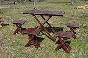 Набор скадной стол и 4 стула (темный)