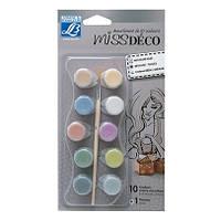 Набор металлизированных акриловых красок Miss Deco, 10x4 мл + кисточка
