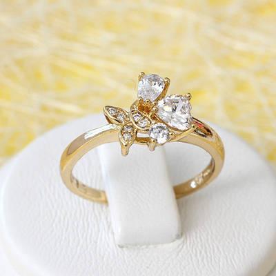 002-2653 - Позолоченное кольцо с прозрачными фианитами, 17.5 р
