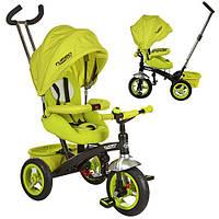 Велосипед M 3195-2A (1шт)три кол.рез (12/10)колясоч.поворот,фиксир.пед,рем.безоп.,торм.звон,зеленый