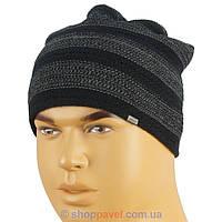 Мужская шапка черная в полоску