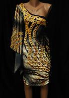 Платье женское тату с одним рукавом 5913