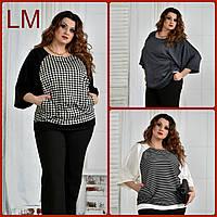 До 74 размера, Удобная женская блузка 770410 осенняя батал весенняя больших размеров чёрная белая гусиная лапк