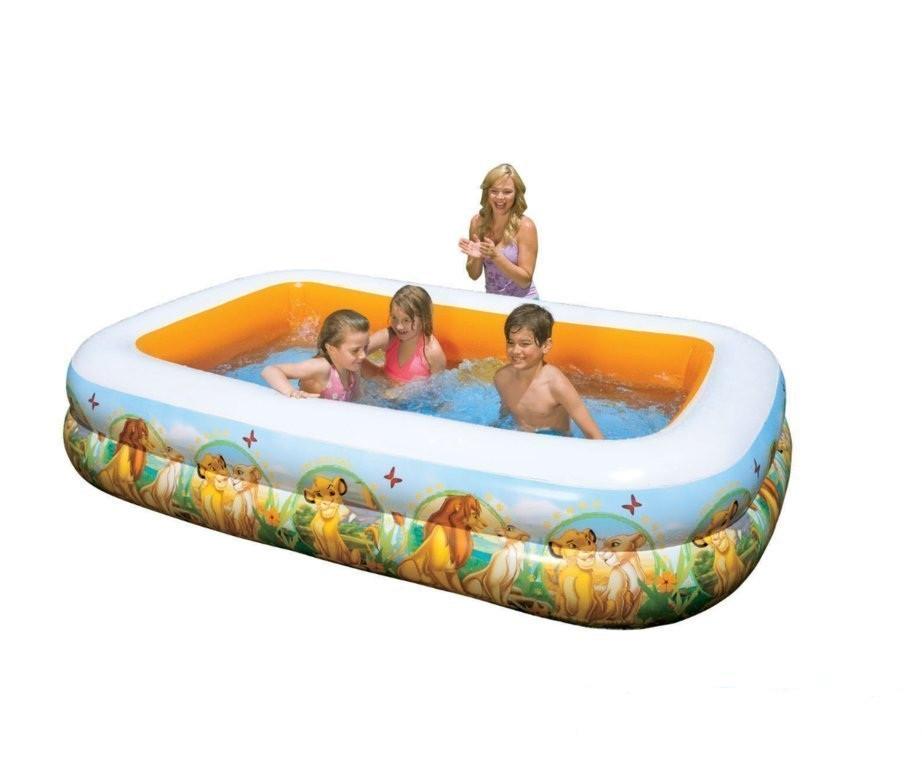 Дитячий надувний басейн КОРОЛЬ ЛЕВ 265х175х56 см ІNTEX прямокутний Басейн
