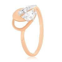 """Серебряное кольцо с камнями и позолотой """"081"""""""