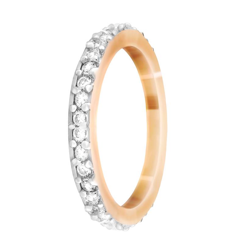 """Серебряное кольцо с камнями и позолотой """"092"""""""