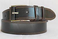 Джинсовый кожаный ремень 45 мм черный прошитый двойной коричневой ниткой пряжка обшита кожаной вставкой