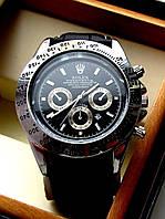 Часы наручные мужские Rolex Daytona черное серебро, часы физрука