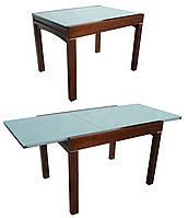 Стол BT-3060 обеденный слайдер, дерево со стеклом, раскладной, модерн, темный орех, кофе