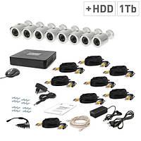 Комплект проводного видеонаблюдения Tecsar 8OUT + HDD 1TБ