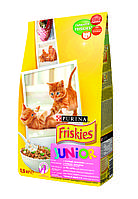 Purina Friskies Junior Kitten, Сухой корм с курицей, морковью и молоком для котят 1,5кг, фото 1