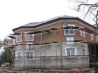 Наружное утепление стен фасадов частных домов листовым пенопластом 50 мм с материалом