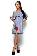 Платье в полоску с воланом София
