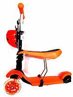 Самокат-беговел детский трехколесный c сиденьем iTtrike JR 3-016 оранжевый