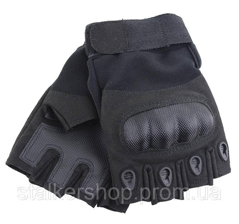 Перчатки тактические беспалые карбон, черные