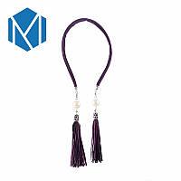 Красивый фиолетовый обруч для волос с подвесками-сережками под вечерний наряд