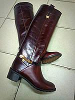 Женские кожаные высокие сапоги марсала -итальянская колодка