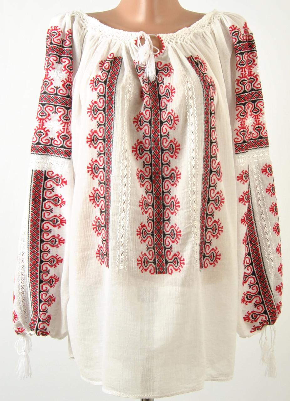 Жіноча вишита сорочка блузка марльовка з червоно-чорним орнаментом ... 785f6de248792