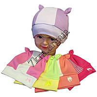 """Шапка детская для девочек """"Хвостики"""" 1-2 года одинар. трикотаж Украина Оптом"""