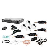 Комплект проводного видеонаблюдения Tecsar 4OUT-2M-AUDIO DOME