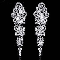 Сережки вечірні, весільні ювелірна біжутерія сріблення 4719с, фото 1