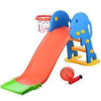 Горка YTE00199 (1шт) пластик,д162-ш51-в75см,горка 115см, баскетбольное кольцо, мяч, сетка, насос