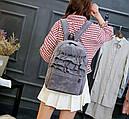 Рюкзак бархатный с оборками (серый), фото 2