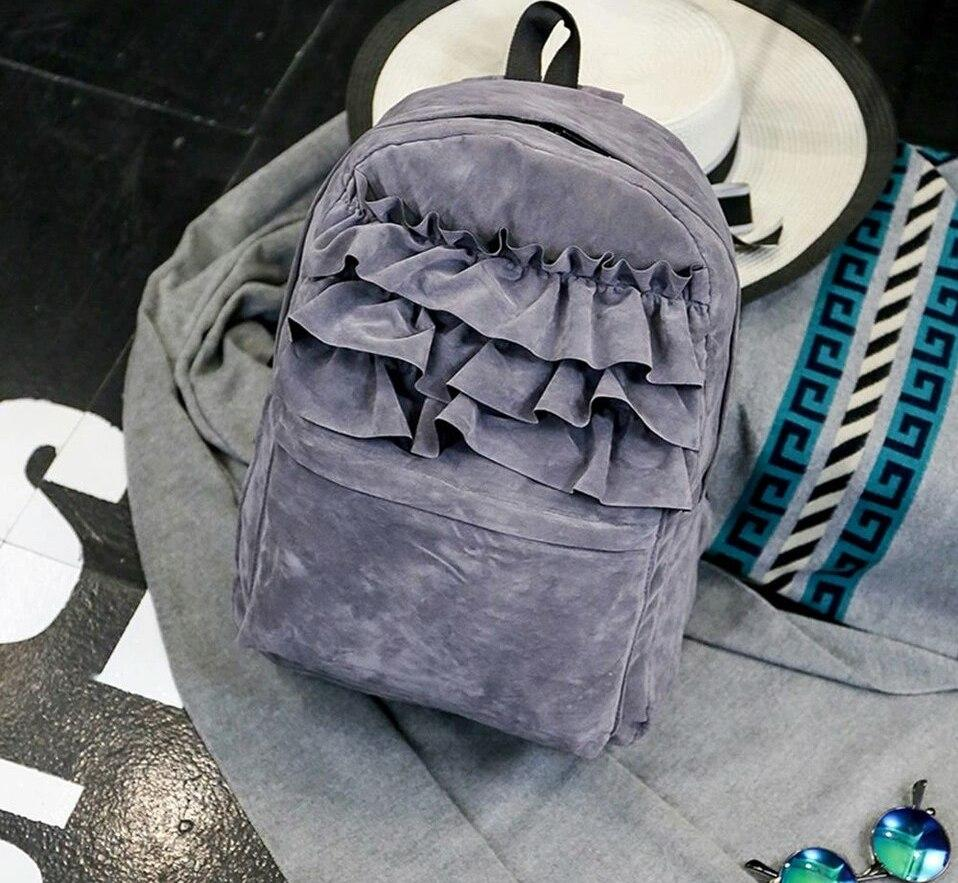 Рюкзак бархатный с оборками (серый)