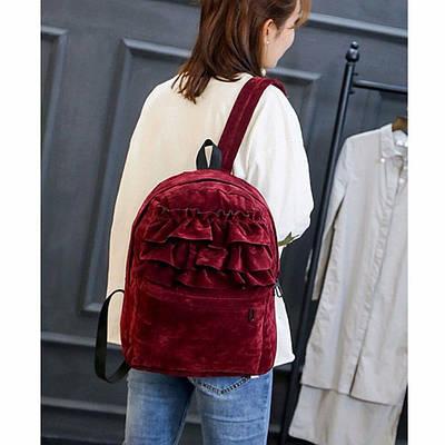 Рюкзак бархатный с оборками (бордовый)