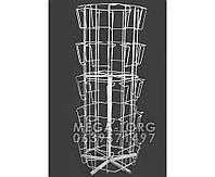 Открыточная вертушка 6 гранная настольная на 30 карманов(цвет:белый, металлик)