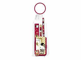 Набор канц. в пакете: карандаш ч/г с ластиком, пенал пласт., линейка 15см, ручка автомат., точилка ,