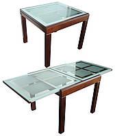 Стол BT-31020 обеденный слайдер, дерево со стеклом, раскладной, модерн, темный орех, кофе