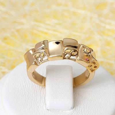 R1-2659 - Позолоченное резное кольцо, 16.5, 17, 18 р