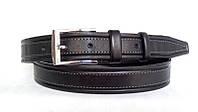 Кожаный ремень 35 мм чёрный прошитый серой ниткой пряжка хромированная два кожаных тренчика