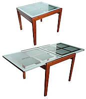 Стол BT-31098 обеденный слайдер, дерево со стеклом, раскладной, модерн, темная вишня, кальвадос, яблоня