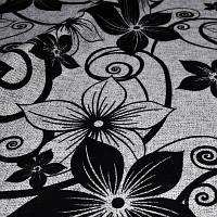 Мебельная ткань рогожка с флоком Цветок черный