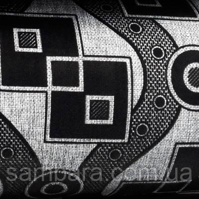 Мебельная ткань рогожка с флоком Зигзаг черный