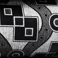 Мебельная ткань рогожка с флоком Зигзаг черный, фото 1