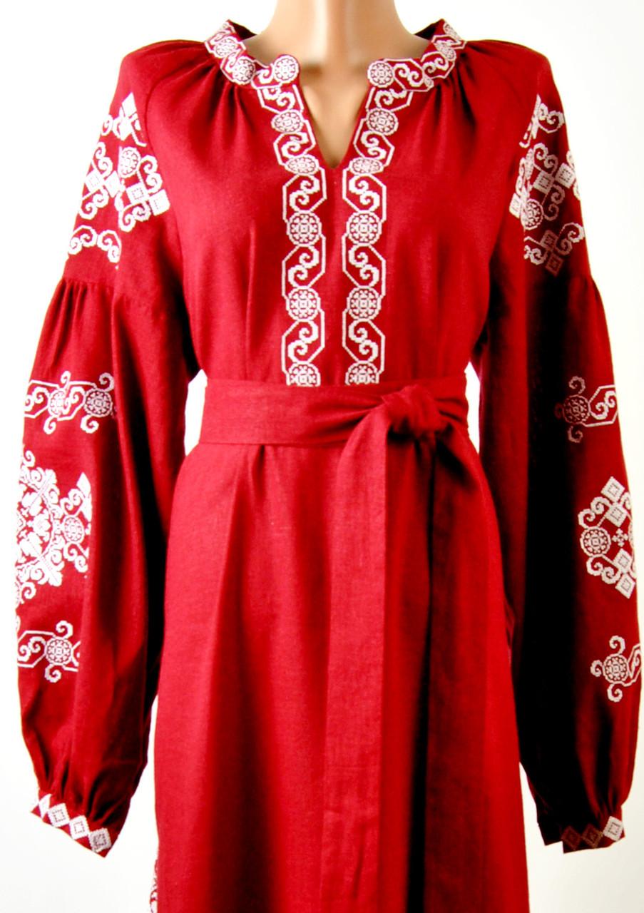 Вишите лляне довге червоне плаття з машинною вишивкою  продажа 0af52f6fe4cae