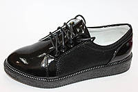 Туфли закрытые для девочек черные лаковые Tom.m  Размеры: 32-37