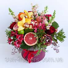 Букет фруктовый в шляпной коробке