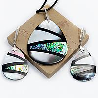 Перламутр, серебро, комплект кулон и серьги, 035КМП