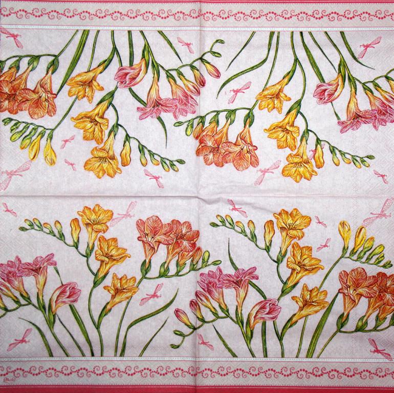 Декупажная салфетка Цветы альстромерии на розовом фоне 3476