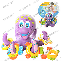 Игра для купания HS6301, игра состоит из осьминога-кольцеброса и 5 колец, в виде морских обитателей