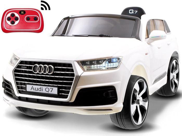 Детский электромобиль Audi Q7 белый лак, кожа, 2 мотора по 45 ватт