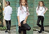 """Детские стильные брюки-лосины """"Трикотаж Колени Пайетки"""" в школьных расцветках (08-286)"""